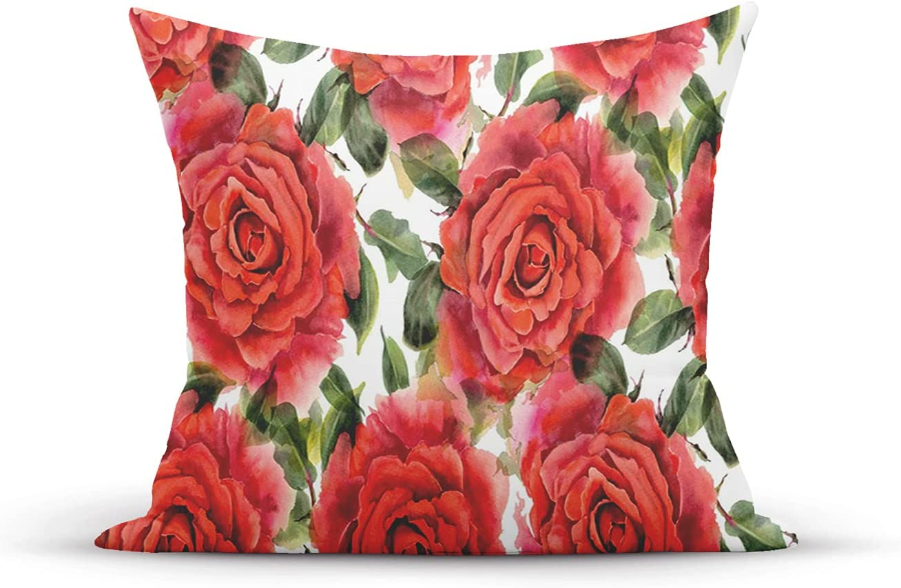 ETHAICO Decorative Throw Pillow Covers Cases 18X121 inches Pillowcases Case Cover Cushion Two Sided,English Garden Themed Print of Watercolor Effect Flowers with Nostalgic Inspirations