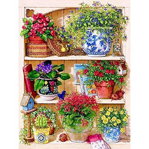- Cross Diamond Painting - 5D Diy Diamond Embroidery Diamond Painting Cross Stitch Kits The Cross Mosaic Pattern Christmas Gift For Adults (17.7X23.6 Inch)- Flower Vase(Frameless)