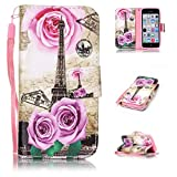 5c phone cases new york giants - iPhone 5C CASE,KMETY(TM) [Wrist Strap Design]Pink butterfly Pattern Premium PU Leather Wallet [Card/Cash Slots] Flip Cover for iPhone 5C