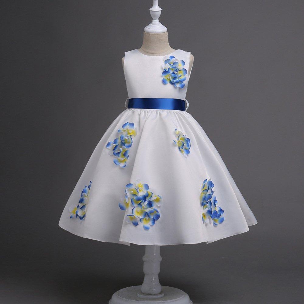 Bleu 120cm WLG Robes Filles Robes Fleurs Perlées Robes Débardeur sans Manches Robes pour Enfants