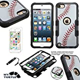MYTURTLE Shockproof Hybrid Case Hard Silicone Shell High Impact Cover with Stylus Pen and Screen Protector for iPod Touch 5th 6th Generation, Ball Sports Baseball Tuff