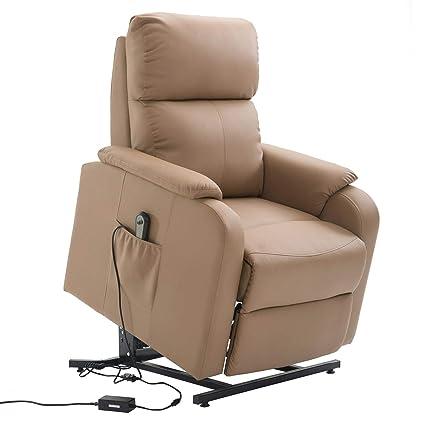Caro Mobel Relaxsessel Senior Fernsehsessel Ruhe Tv Sessel Mit Elektrischer Aufstehfunktion Verstellbare Ruckenlehne Und Fussteil Braun