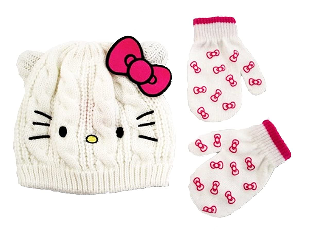 White One Size Hello Kitty Little Girls Toddler Beanie Hat /& Mitten Set