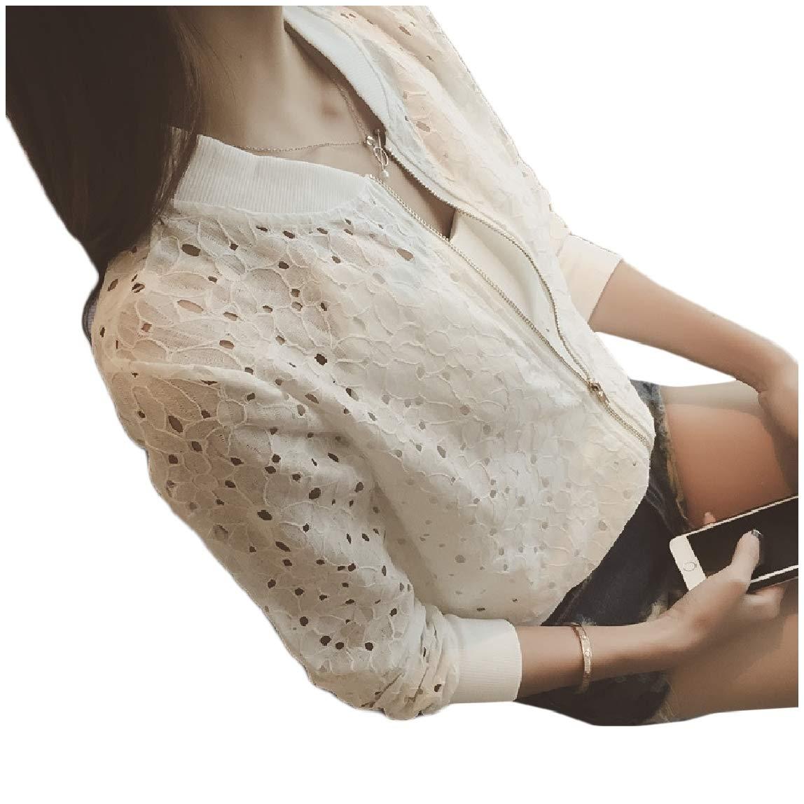 MirrliyWomen Hollow Out Weekend Long-Sleeve Stand Collar Zip Outwear Jacket White S