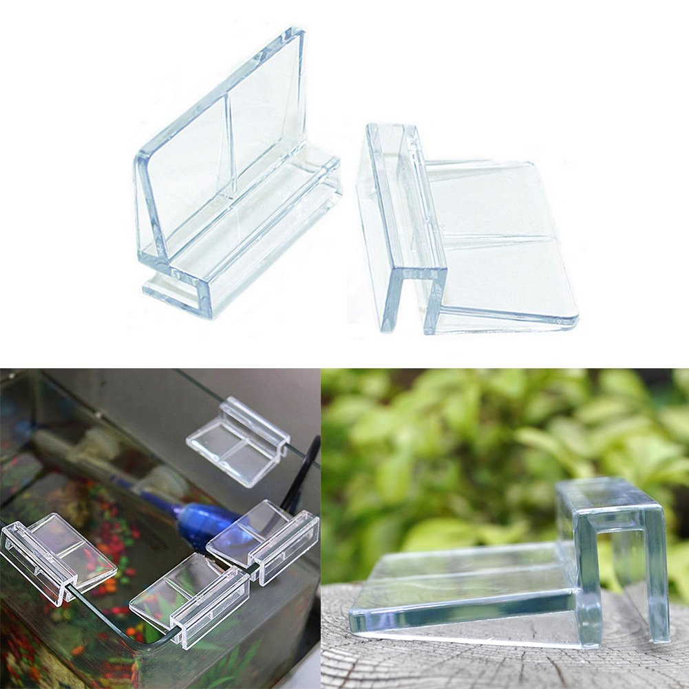 UxradG 4 piezas acrílico acuario pecera cubierta de cristal Clip soporte: Amazon.es: Productos para mascotas