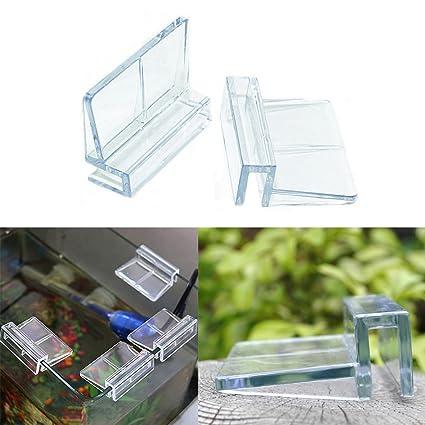 4 clips de plástico para acuario de EMVANV para tanque de peces, transparentes, para