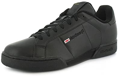 93b62cfe158f7 Mens Gents Reebok Newport Classic Black Leather Tennis Shoes Trainers -  Black - UK