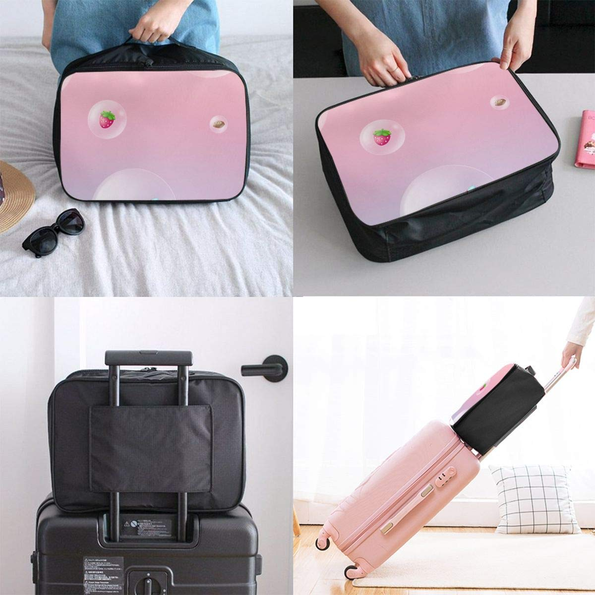 Lightweight Large Capacity Portable Duffel Bag for Men /& Women Pink Candy Strawberry Cake Travel Duffel Bag Backpack JTRVW Luggage Bags for Travel