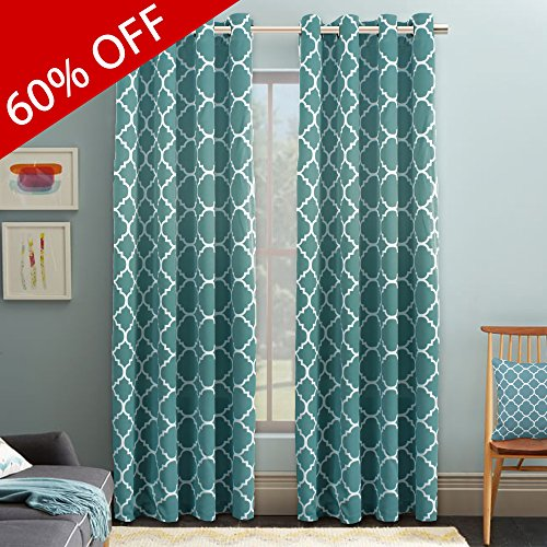 FlamingoP Microfiber Noise Reducing Thermal Insulated Moroccan Blackout Drapes Printed Window Curtains for Living Room, Teal Grommet Top, Set of Two Panels, 52 x 96 Inch (Printed Panels Window)