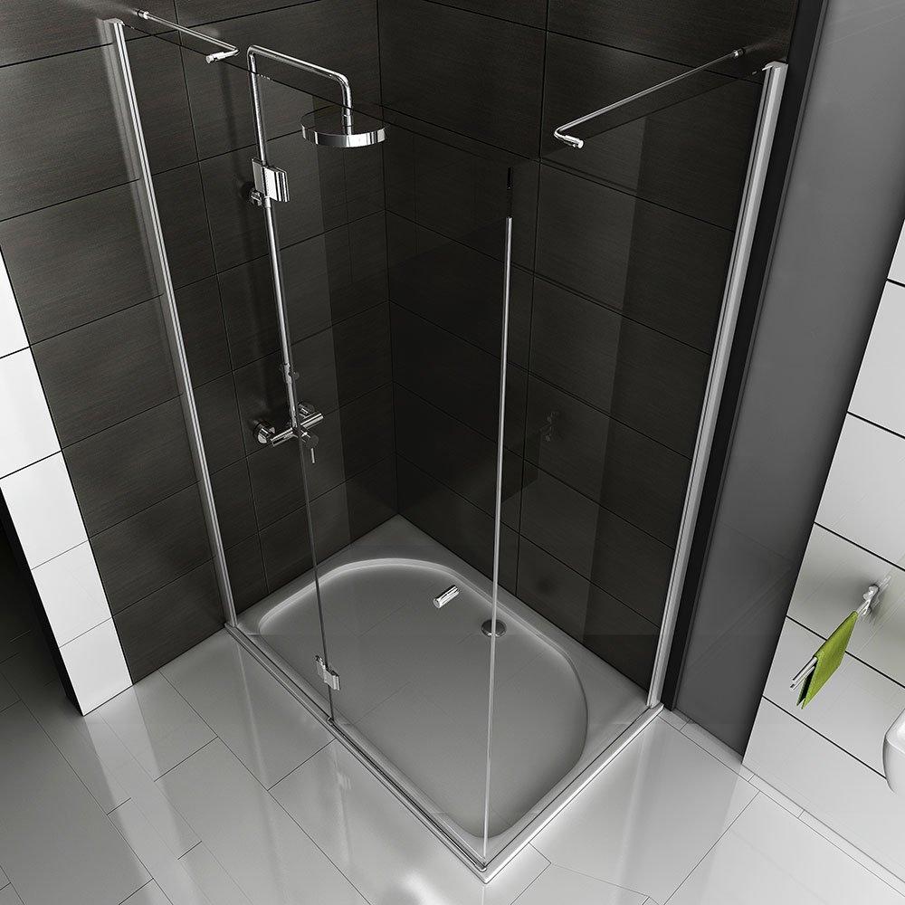 Cuadro gimnasio ducha/ducha aprox 120 x 80 x 200 cm/ducha funshirt/claro cristal de seguridad/cabina de ducha de cristal acabado/puerta con pared ...