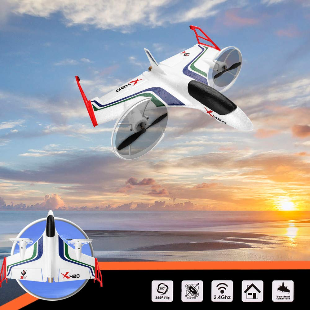 Hisoul X420 RC Airplane - 2.4G 6CH 3D/6G Aerobatic Vertical Take-Off Remote Control Glider - 340mm Wingspan Fixed-Wing RC Airplane, for Beginners Best Gift (♥ White) by Hisoul (Image #3)