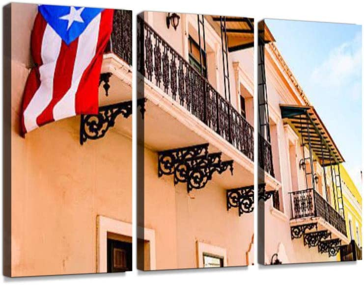 Colorful House facades of Old San Juan, Puerto Rico 3 Pieces Print On Canvas Wall Artwork Modern Photography Home Decor Unique Pattern Stretched and Framed 3 Piece