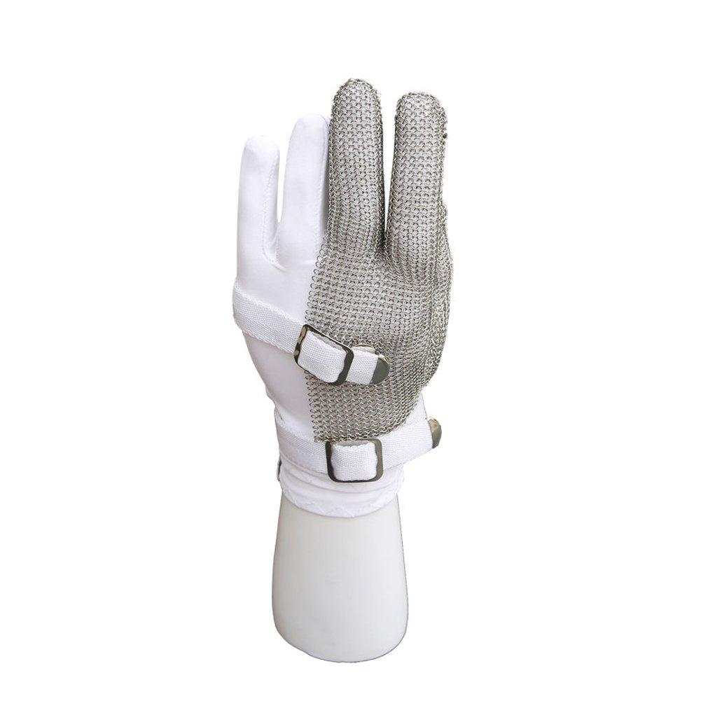 DLGLOBAL Cut Resistant Gloves Stainless Steel Mesh Metal Mesh Butcher Chain Mail Gloves Three Fingers Nylon Wristbands Gloves Work Safety Gloves L
