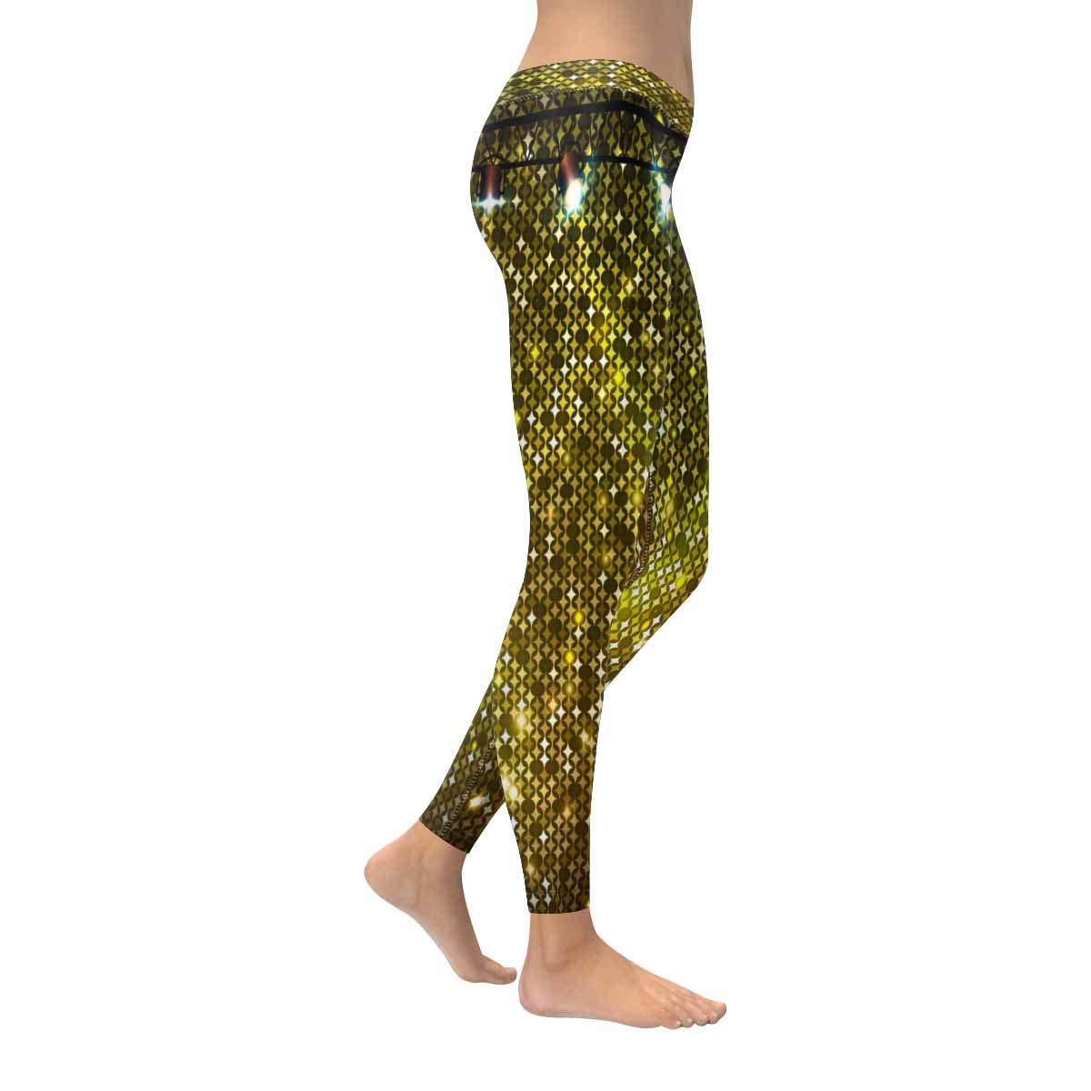 XXS-5XL InterestPrint Womens Full Length Leggings Golden Neon Stretchy Sport Gym Leggings