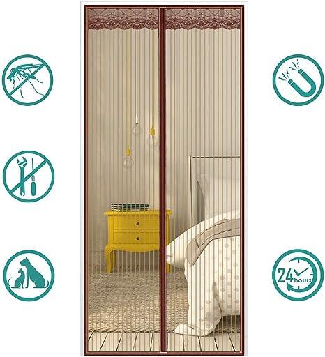 MeetBeauty Mosquitera Puerta Magnetica Corredera Cortina Mosquitera Magnética para Puertas Cortina de Salón de Estar la Puerta del Balcón Puertas, Marrón, 80 x 200 cm: Amazon.es: Hogar