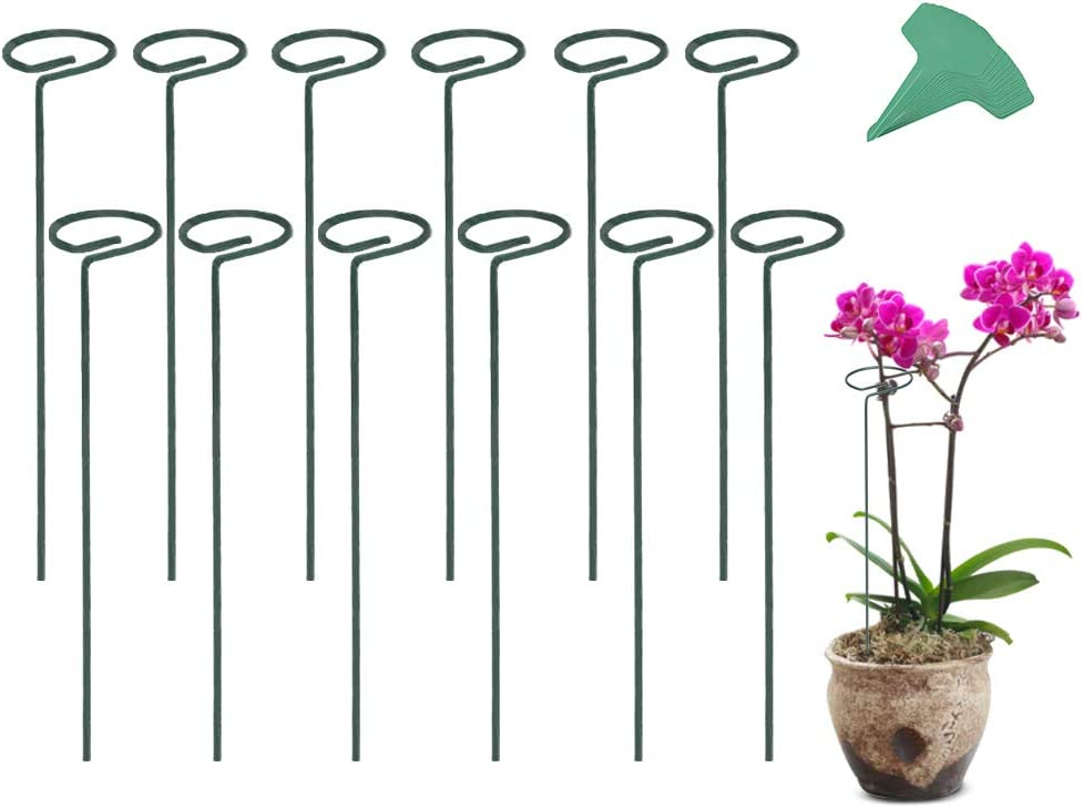 GROWNEER 12 Packs 16 Inches Garden Flower Support Plant Support Stakes, with 15 Pcs Plant Labels, Single Plant Stem Flower Support for Flowers, Orchid, Peony, Lily, Rose