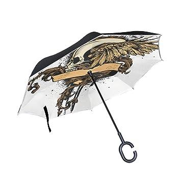 MALPLENA - Paraguas de Cabeza de Calavera para Mujer, Hombre, Impermeable, Resistente al