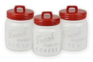 DII 3-Piece Vintage, Retro, Farmhouse Chic, Mason Jar Inspired Ceramic Kitchen Canister With Airtight Lid For Food Storage, Store Coffee, Sugar, Tea, Spices and More - Red