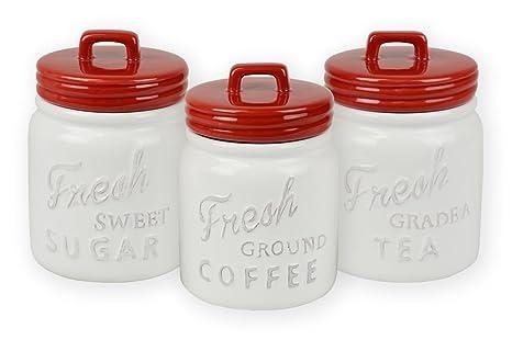 amazon com dii 3 piece vintage retro farmhouse chic mason jar rh amazon com blue mason jar kitchen canisters mason jar canister set kroger