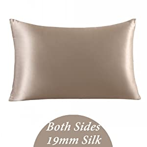 ZIMASILK 100% Mulberry Silk Pillowcase for Hair and Skin,with Hidden Zipper,Both Side 19 Momme Silk, 1pc (Queen 20''x30'', Taupe)