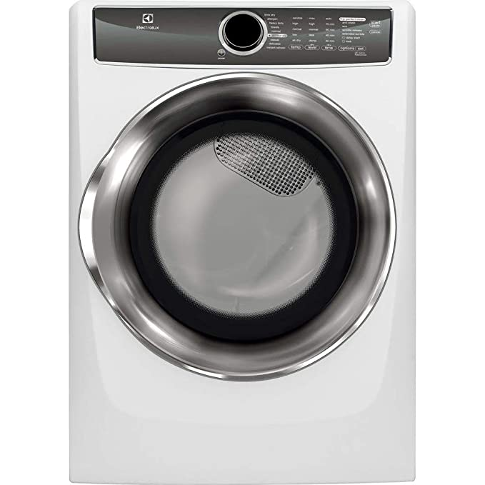 "Electrolux EFMG617SIW 27"" Energy Star Front Load Gas Dryer with 8 cu. ft. Capacity Perfect Steam Allergen Cycle 15 Minute Fast Dry and Reversible Door: Island best gas dryers"