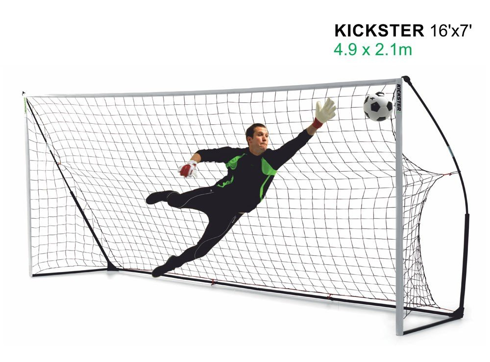 16ft x 7ft Ultra Portable Football Goal - Kickster Academy - 2 Minutes Setup perfect for Training, Coaches and Garden Fun - Quick play K16