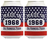 50th Birthday Gift Coolie Made 1968 Can Coolies 2 Pack Can Coolie Drink Coolers Coolies Patriotic