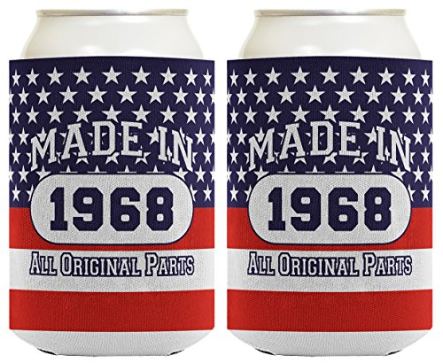 50th Birthday Gift Coolie Made 1968 Can Coolies 2 Pack Can Coolie Drink Coolers Coolies Patriotic by ThisWear (Image #3)'