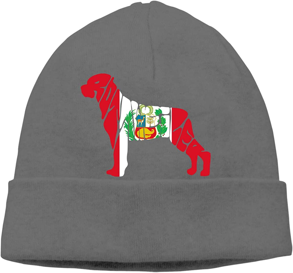 BF5Y3z/&MA Peru Flag Rottweiler Dog Beanie Hat for Men Women,Comfortable Hedging Cap Skiing Cap