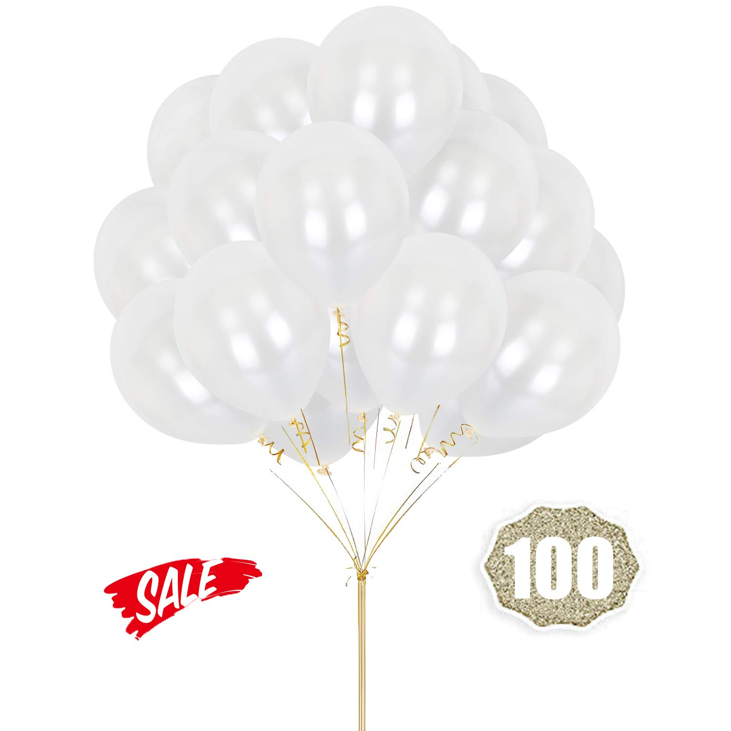 HoveBeaty White Balloons 12 Inches Thicken Latex Metallic Balloons 100 Pack for Wedding Party Baby Shower Christmas Birthday Carnival Party Decoration Supplies
