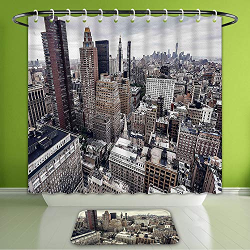 Waterproof Shower Curtain and Bath Rug Set Cityscape New York City American Metropolitan State Scenery Art Photo Charcoal Grey White and R Bath Curtain and Doormat Suit for Bathroom 72