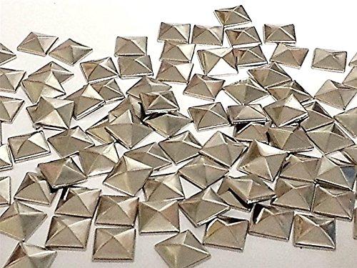 CraftbuddyUS100 Pyramid 12 mm Silver Hotfix Studs, stick on Embellishments, DIY