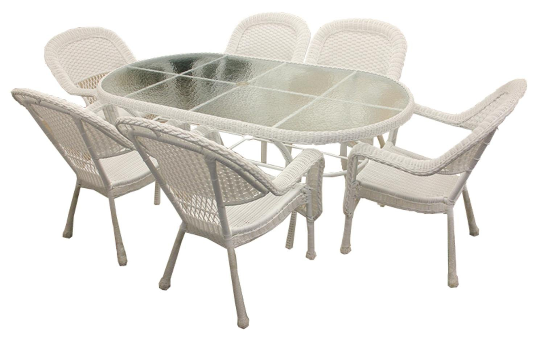 Amazon.com : LB International BOI 97817W 7 Piece White Resin Wicker Patio  Dining Table : Garden U0026 Outdoor