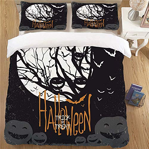 Kids Duvet Cover Set,FULL Size,3 Piece (1 Duvet Cover + 2 Pillow Shams)Soft Kids Bedding Sets Vintage Halloween Halloween Themed Image with Full Moon and Jack o Lanterns on a Tree Decorative Black Whi -