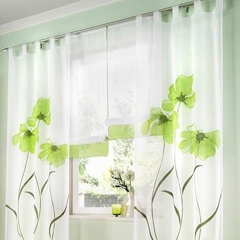 souarts grn stickerei transparent gardine vorhang schlaufenschal deko fr wohnzimmer schlafzimmer studierzimmer 150cmx245cm nur ein schlaufenschal - Wohnzimmer Vorhang Grun