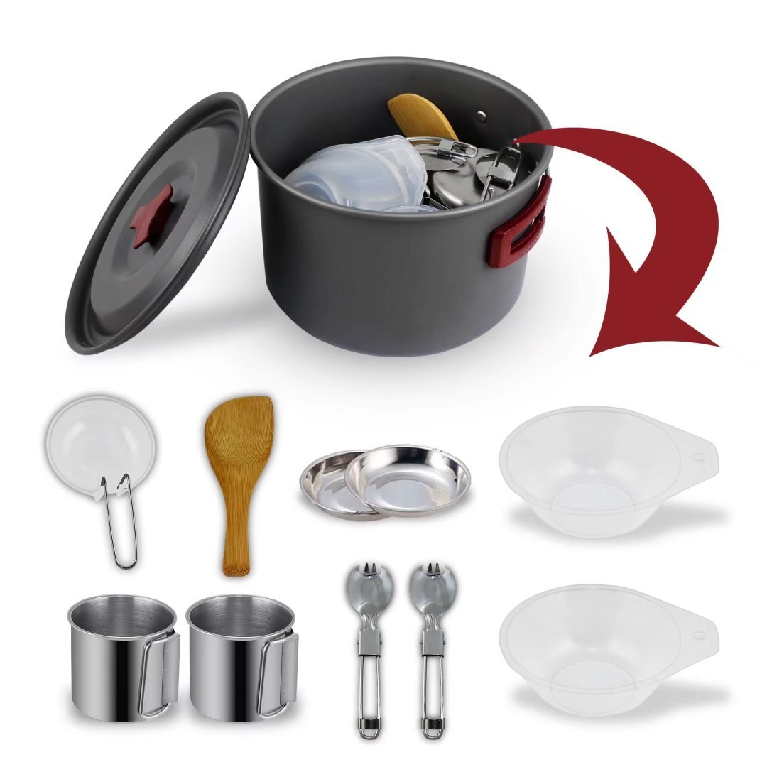 BeGrit Camping Cookware Mess Kit Backpacking Camp Pot Bowls Spork Cup Picnic Cooking Equipment 8 Piece Cookset for Hiking Outdoors