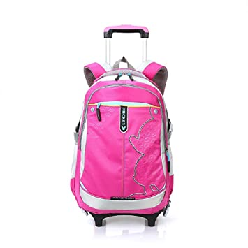 cartable scolaire à roulettes Sac d'école Sac à dos à roulettes nylon imperméable détachable pour fille enfant (Rose) 7C6x9UC7XZ