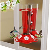 Nature Anywhere Window Hummingbird Feeders for Outdoors Including 3 Colors of Interchangeable Flowers for Hummingbirds…
