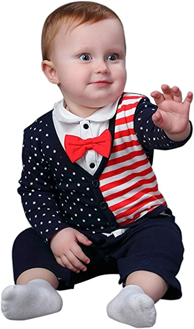 AIKSSOO Infant Baby Boys Outfit Gentleman Tuxedo Bowtie Long Sleeve Romper