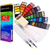 MISULOVE Watercolor Paint Set, 42 Assorted Colors & 3 Brushes, Foldable Travel Pocket Watercolor Kit, Perfect for Artist…