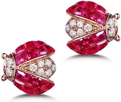 Christmas Gift 925 Sterling Sliver Prong Setting Gift For Her Ruby Stud Earrings Push Back Earring Stud Earring