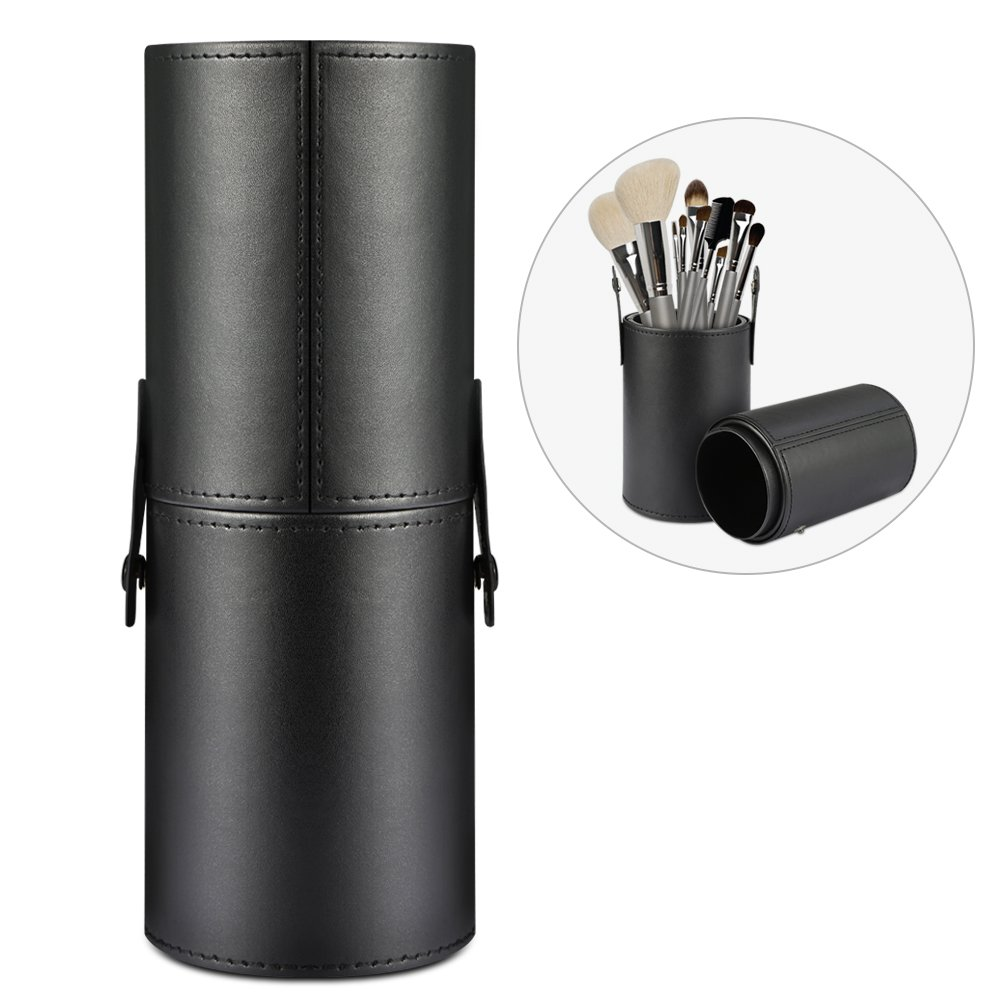 Makeup Brush Holder Etmury Professional Travel Case, Vegan Leather Round box Large Capacity Storage bags for Pen Pencils Brushes Countertop Display Container (PU Black)