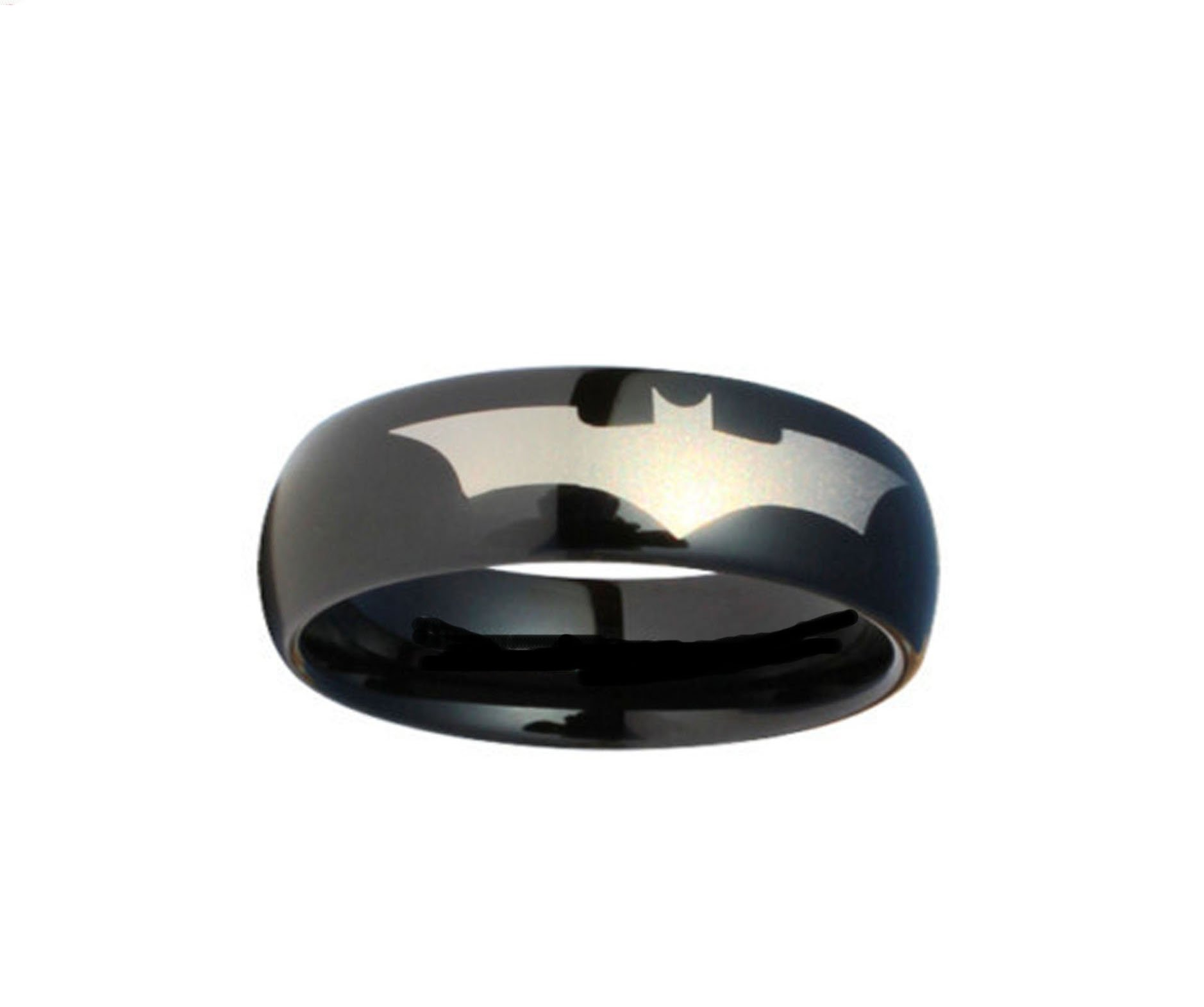 Blue Palm Jewelry Batman Print on a Black Stainless Steel DC Width 6 mm Band Ring R380 Size 5-13