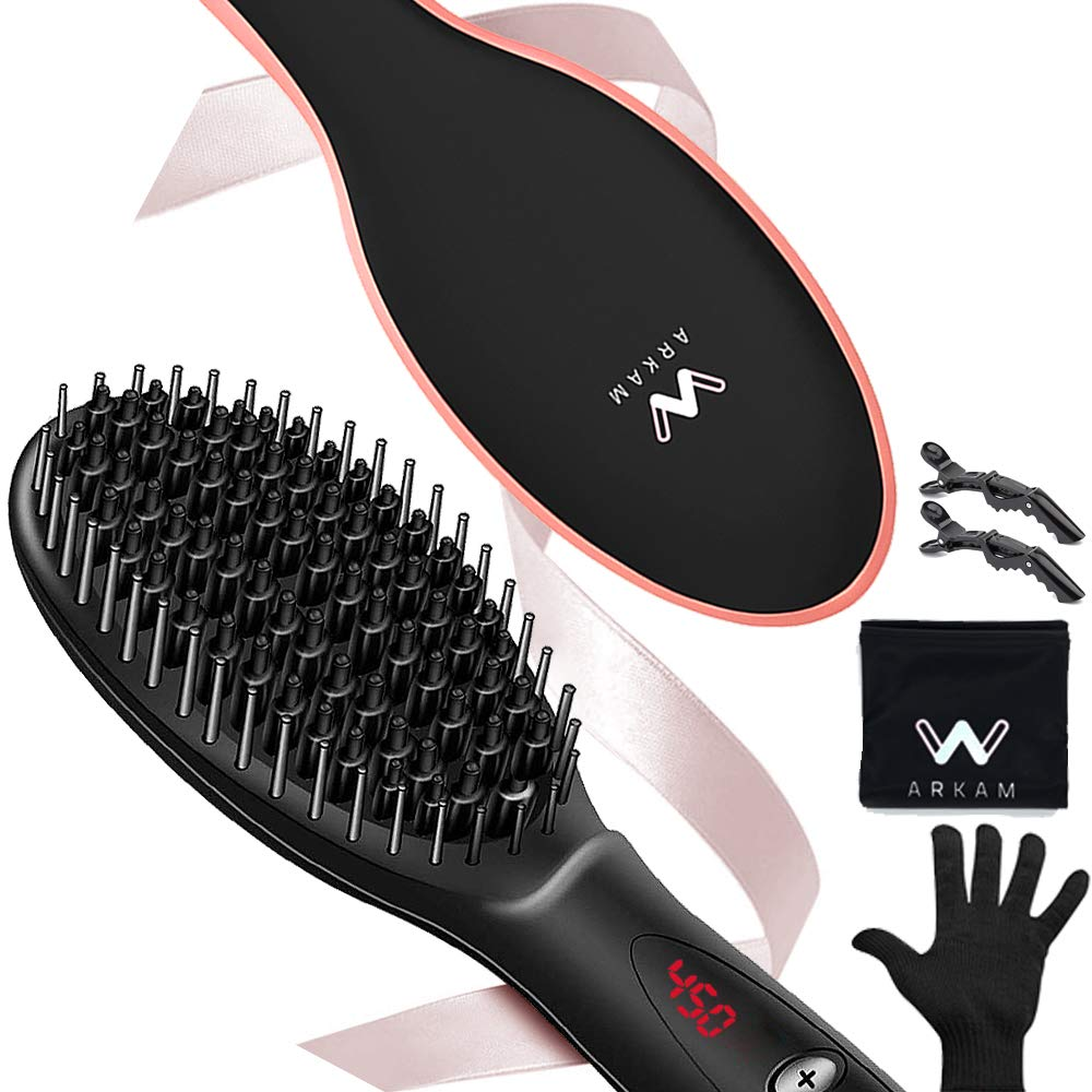 Arkam Ionic Hair Straightener Brush – Dual Ceramic Heating, LED Display, Variable Temperature Settings, Anti-Scald Hair Straightening Brush, Portable 2 in 1 Hair Brush Straightener Silky Smooth Hair