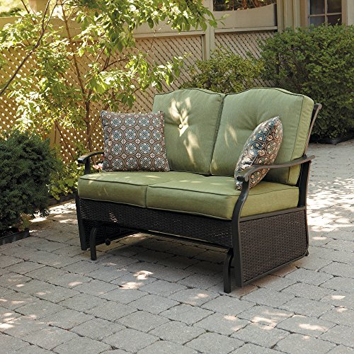 Outdoor Loveseat Glider Bench with 2 Cushions and 2 Decorative Pillows, Seats 2 in Color Green ()