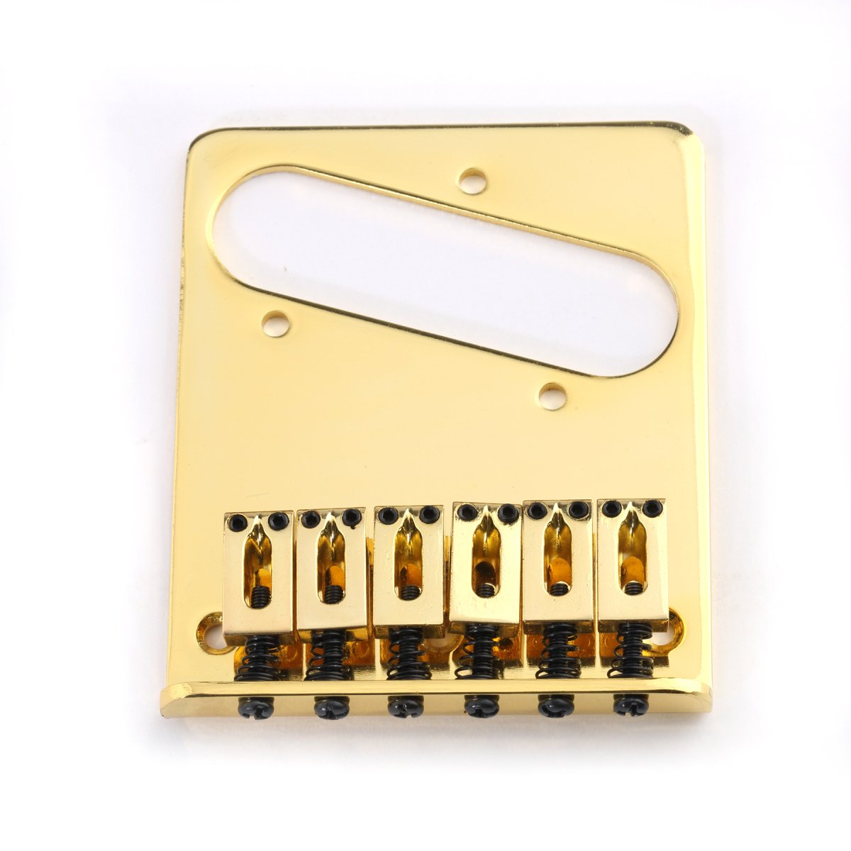 Musiclily Guitar Telecaster Bridge Assembly with 6 Saddles for Fender Tele Replacement,Gold