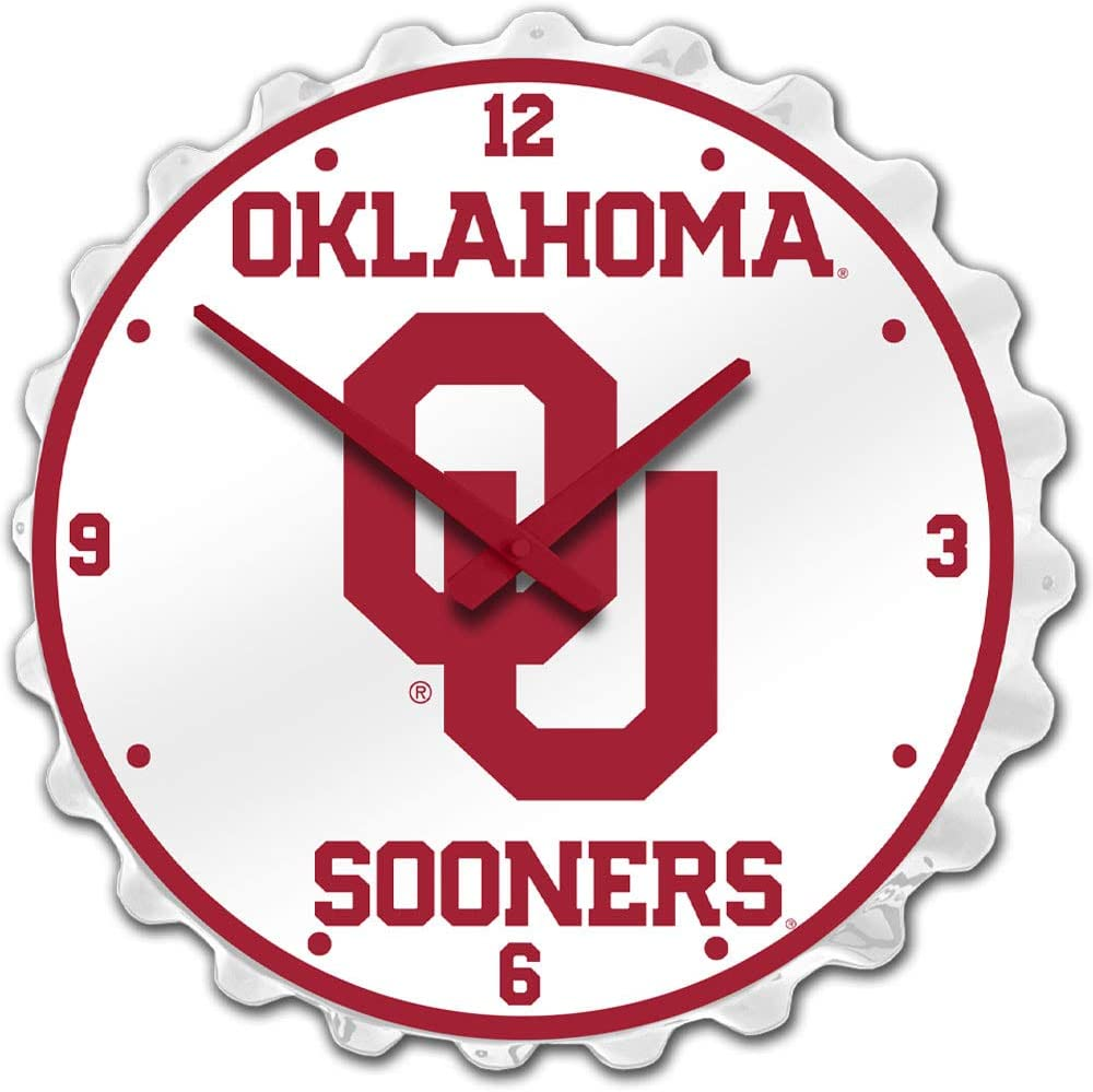 Dcor Wall Clocks Made in USA Oklahoma Sooners Large Bottle Cap ...