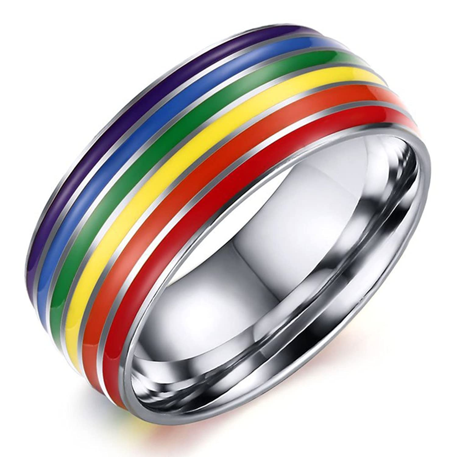 8mm titanium stainless steel rainbow enamel gay lesbian wedding engagement promise band lgbt pride ringamazoncom - Gay Wedding Ring