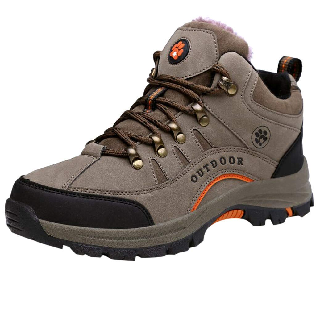 Mens Hiking Shoes Low Cut Boots Casual Leather Outdoor Trekking Training Walking Shoes (US:10.5, Khaki)