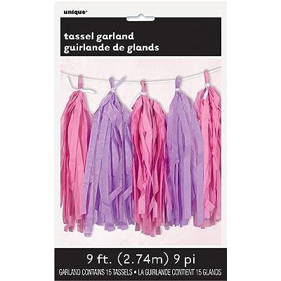 9ft Tissue Paper Pink & Purple Tassel Garland: Kitchen & Dining